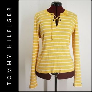 Tommy Hilfiger Woman Stripe Knit Sweater Large